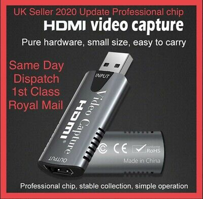 HDMI To USB 2.0 Video Capture Card 1080P HD Recorder Game/Video Live Streaming • 11.95£