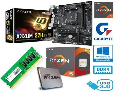 Amd Ryzen 5 2600 Bundle - 6 Core - Gigabyte A320m-s2h Motherboard - 8gb Ram • 217.99£