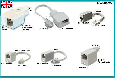 Telephone Line Adapter BT Fax Modem RJ11 RJ45 Phone Socket Male Female Converter • 3.99£