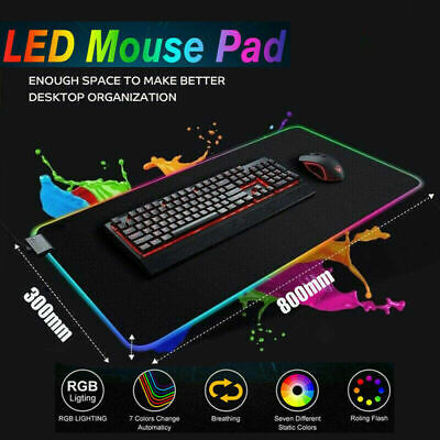 RGB LED Gaming Mouse Pad, Large Extended Glowing Led Mousepad USB 2.0 For Gamer • 12.89£