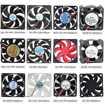 30/40/50/60/70/80/120mm DC 12V 2/3/4Pin Mini Cooler Cooling Fans For PC Computer • 4.55£
