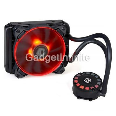 ID-COOLING FrostFlow 120L Red LED Water CPU Liquid Cooler 120mm Radiator PMW Fan • 33.99£