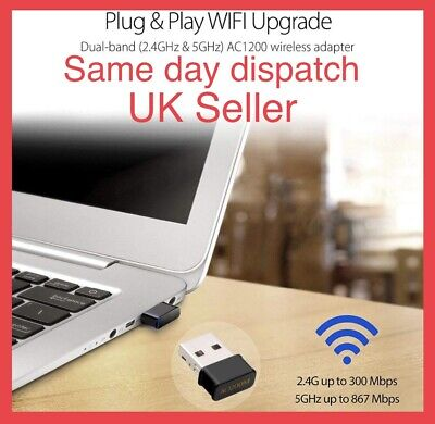 1200Mbps USB 3.0 Wireless Network Receiver WiFi Adapter 5GHz Dual Band Dongle UK • 9.95£
