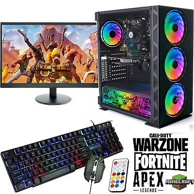 Fast Gaming PC Computer Bundle Intel Quad Core I7 16GB 1TB Win 10 GTX 1050Ti RGB • 449.95£