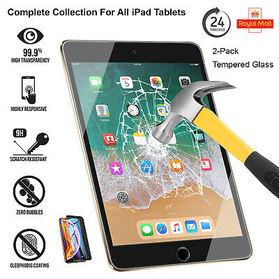 2 Pack Tempered Glass Screen Protector For IPad 10.2  (2020) Air-3 Mini 5 (2019) • 6.44£