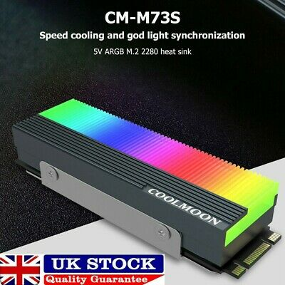 M.2 SSD Heatsink Cooler 2280 ARGB Solid State Disk Radiator Heat Dissipation Pad • 6.89£