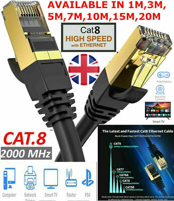 RJ45 Cat8 Network Ethernet Cable Gold Ultra-thin 40Gbps SSTP LOT LAN FLAT Lead • 4.29£
