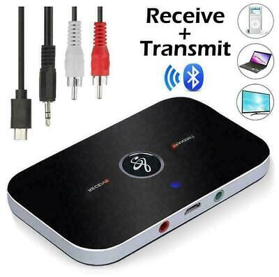 Wireless Bluetooth Audio Transmitter Receiver 3.5mm 2in1 TV PC Adapter AUX • 6.99£