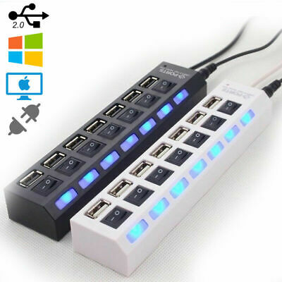7Port USB Hub High Speed Multi Splitter Expansion Power Adapter For PC Laptop UK • 6.49£