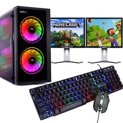 Gaming PC Bundle Intel Quad Core 8GB 1TB Windows 10 GT710 DUAL SCREEN Budget  • 179.95£
