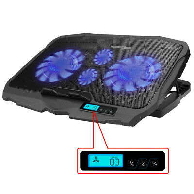 Portable LED Laptop Cooling Pad Dual USB 4 Fan Cooler Adjustable Stand Coolpad • 19.99£