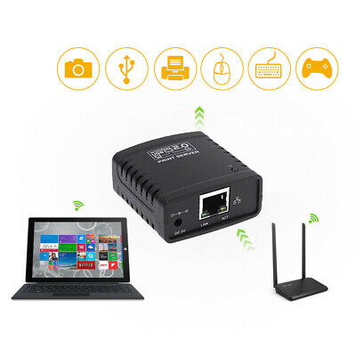 USB 2.0 Switcher Network Shared Device Print Server Ethernet Hub Office 100Mbps • 16.98£
