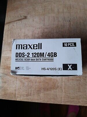 9 X Maxell DDS-2. 120m/4GB. Helical-Scan 4mm. Data Cartridges. New And Sealed. • 25£