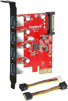 Inateck Superspeed 4 Ports PCI-E To USB 3.0 Expansion Card - Interface USB 3.0 • 2.30£