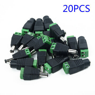 20x MALE+  FEMALE POWER BALUN CONNECTOR CABLE ADAPTER JACK PLUG FOR CCTV • 7.65£