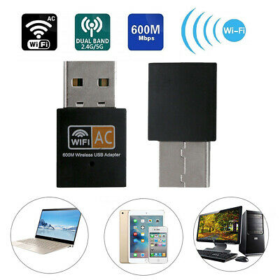 Dual Band 2.4 5G 600Mbps Wireless Adapter WiFi Dongle Computer Laptop USB WIFI • 5.06£
