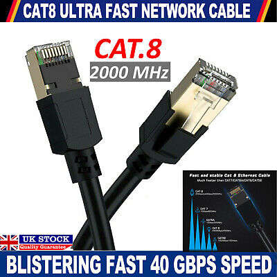 Cat8 Rj45 Ethernet Network Lan Cable Fast Gold Plated Patch Sstp 40gbps Lead Lot • 7.89£