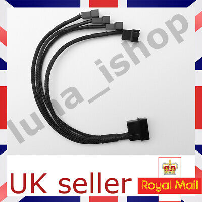 4pin IDE Molex To 4-Port 3Pin/4Pin Cooler Fan Splitter Power Cable UK SELLER  • 3.99£