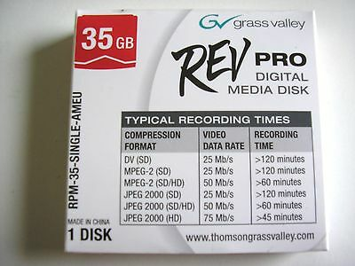 Rev Disk Grass Valley REV Pro 35 GB Digital Media - Sealed • 9.99£