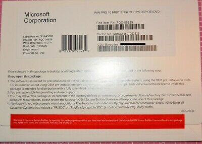 Microsoft Windows Pro 10 64-bit DVD - New Sealed With New License • 43.95£