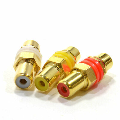 RCA Phono Panel Chasis Mount Socket Audio Red White & Yellow Video [007851] • 5.09£