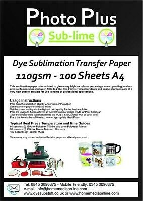 Dye Sublimation Transfer Paper, 110gsm A4 - 100 Sheets • 8.50£