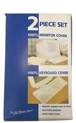 2pc Set Thick Vinyl Desktop Computer Monitor Cover & Keyboard Dustproof Cover • 2.85£