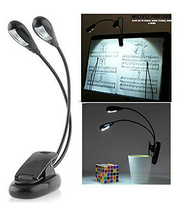 2 Dual Arms Clip On LED Lamp For Book Reading - 360-degree Bendable (4 LED's) • 6.49£