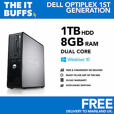 Dell - Dual Core 8GB 1TB HDD Windows 10 - Desktop PC Computer • 82.99£