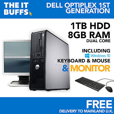 Dell Dual Core 8GB 1TB HDD Windows 10 - Full Bundle Desktop PC Computer • 115£