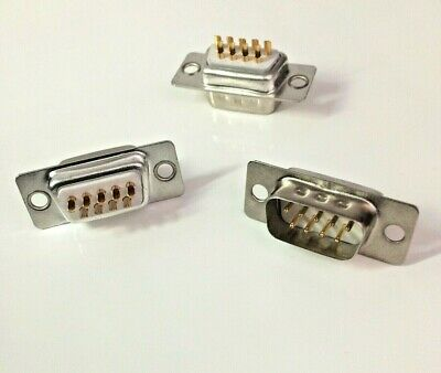 Pack Of 3 ~ 9 Pin Male D-Sub Socket Chassis Solder Connector  RS232 Serial DB9 • 2.49£