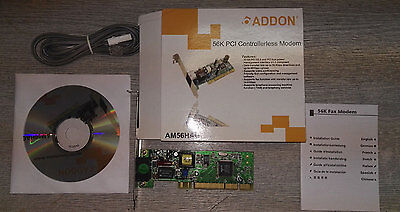 Brand New Sealed 56K PCI Fax Modem AM56HAG With 1.8m BT To RJ11 Cable + CD • 4.99£