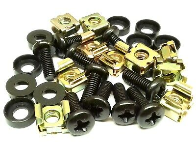 10 PACK BLACK M6 CAGE NUTS BOLTS WASHERS FOR 19  RACK MOUNT CABINETS 15mm THREAD • 1.99£