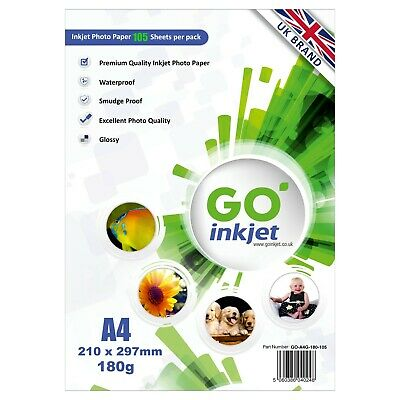 GO Inkjet A4 Photo Paper Glossy 100 Sheets 180gsm For Inkjet Printers • 9.95£