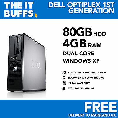 Dell Optiplex - Dual Core 4GB RAM 80GB HDD Windows XP - Desktop PC Computer • 43.99£