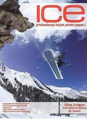 ICE Gloss Photo Paper, 210gsm 8 X 6 - 50 Sheets • 3.50£