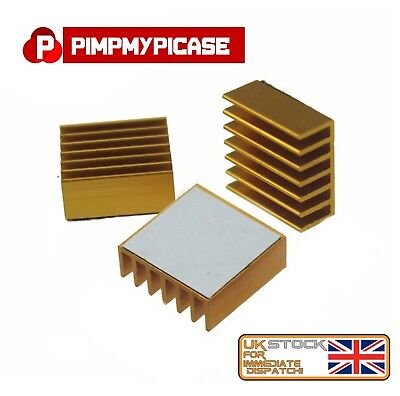 Premium Gold Heat-sink Cooler With 3M Thermal Adhesive Pads For Raspberry Pi • 2.49£