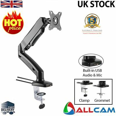 Allcam Gas Spring Desk Mount LCD Monitor Single Arms Stand W/ Vesa Bracket  • 26.80£
