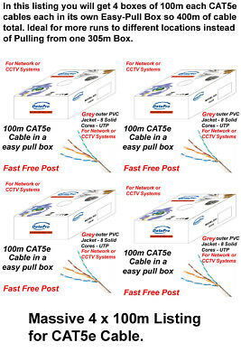 4 X BOXES 100m CAT5e CCA GREY Indoor Or Outdoor Ethernet Network Cable UTP 400M • 59.99£