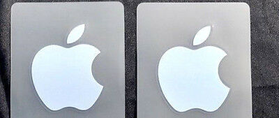 2 X Silver Apple Logo Decal For IPhone Metallic Stickers 9mm X 11mm • 1.79£