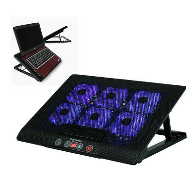 Laptop Cooler Stand With 6 Fan & Tilt For 15 17  Inch Button Control Cooling Pad • 13.99£