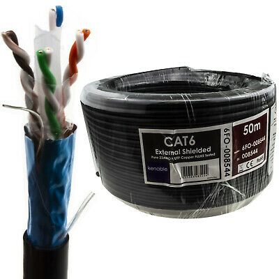 External SHIELDED CAT6 Outdoor Use COPPER Ethernet Cable FTP Reel  50m • 29.25£