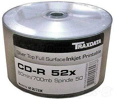 200 Traxdata Full Face SILVER Printable CD-R 52X Again Back In Stock Reduced • 37.50£