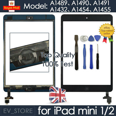 Black For IPad Mini 1 2 Retina Screen Touch Digitizer Replacement Home Button IC • 9.39£