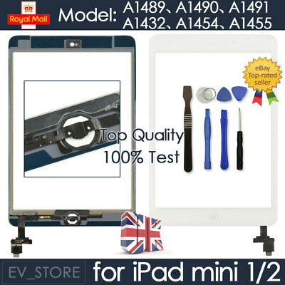 White For IPad Mini 1 2 Retina Screen Touch Digitizer Replacement Home Button IC • 10.30£