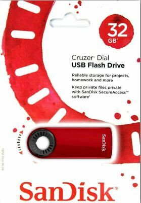 SanDisk 32GB USB 2.0 Memory Stick USB Flash Pen Drive Cruzer Blade Dial Red • 6.47£