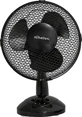 Schallen 9  Inch Small Oscillating 2 Speed Air Cooling Desk Work Top Fan - BLACK • 17.99£