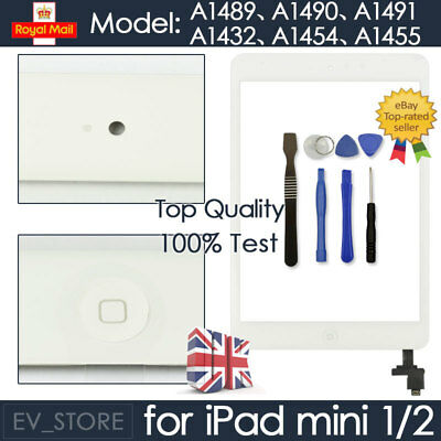 For White IPad Mini 1/2 Touch Glass Digitizer Screen Replacement +IC Home Button • 8.49£