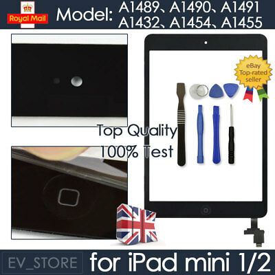 For Black IPad Mini 1/2 Touch Glass Digitizer Screen Replacement +IC Home Button • 8.29£