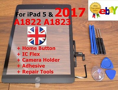 For IPad 2017 5 AIR A1822 A1823 BLACK Touch Screen Digitizer Glass Replacement  • 14.99£